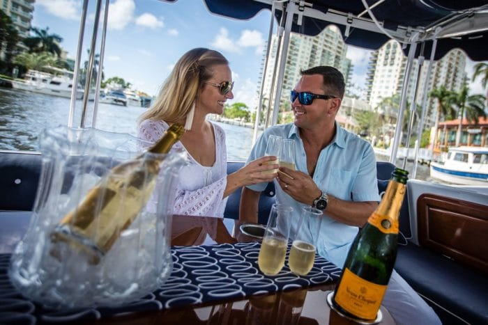 valentines day boat rental couple