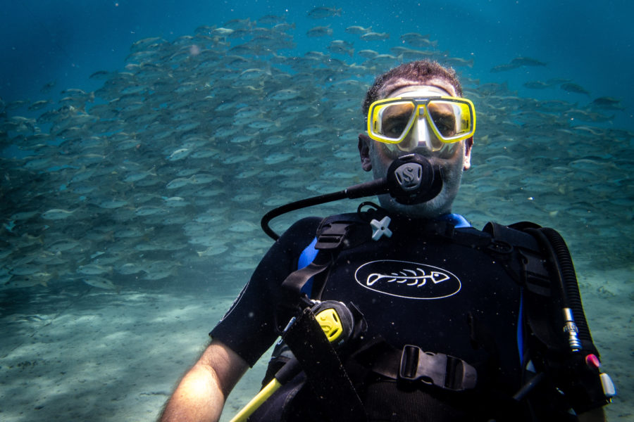 Jonathan Look SCUBA diving in Bali, Indonesia