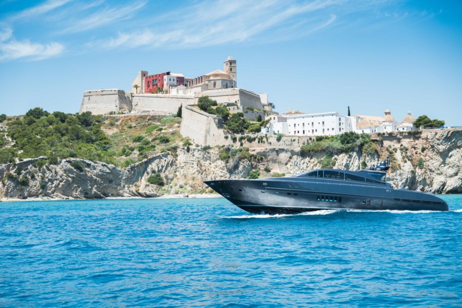 Luxury yacht cruising by Ibiza