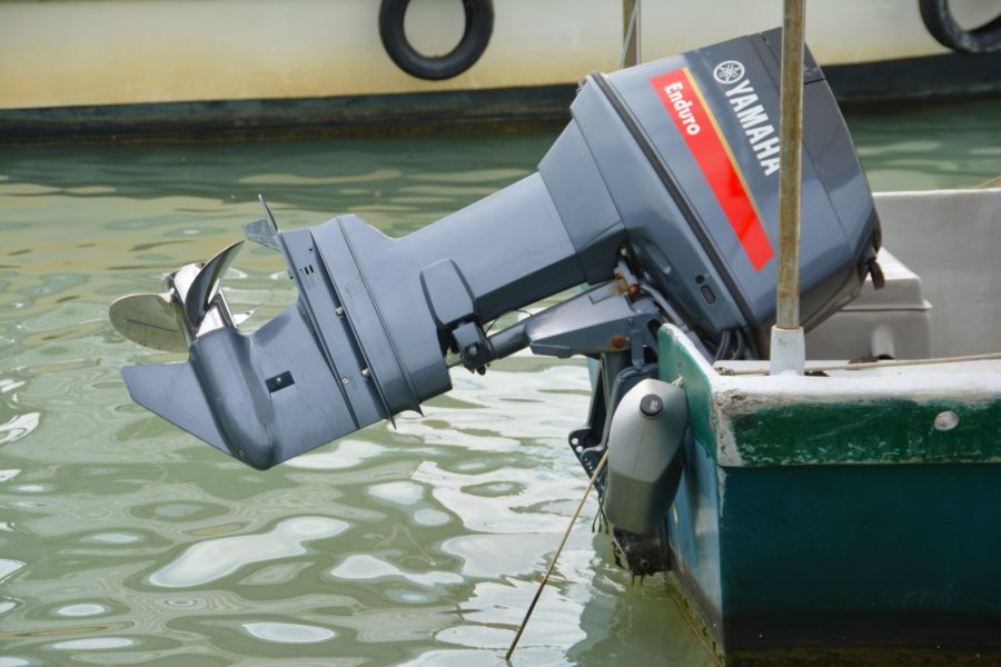 Yamaha outboard motor on a boat