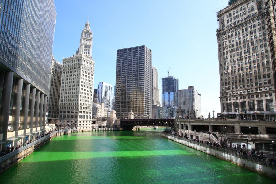 Chicago River during St. Patrick's Day