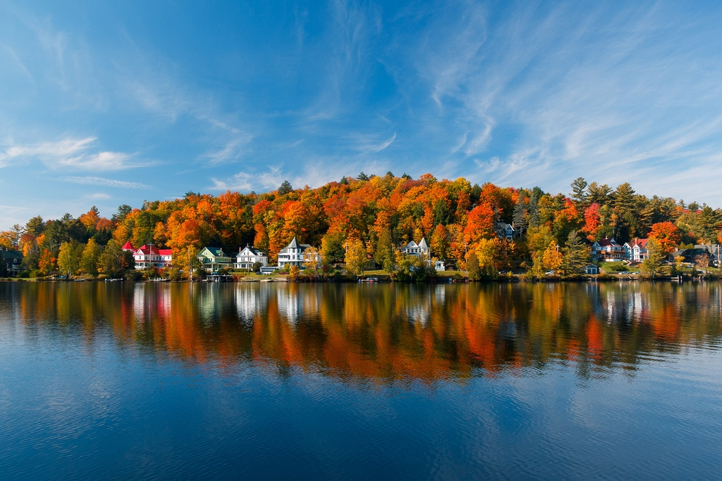 Fall Boating in Saranac Lake, New York