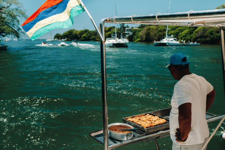 Cooking fish on the boat